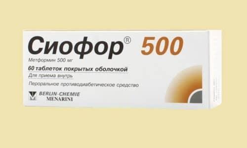 Действующее вещество Сиофор 500 не подвергается трансформации