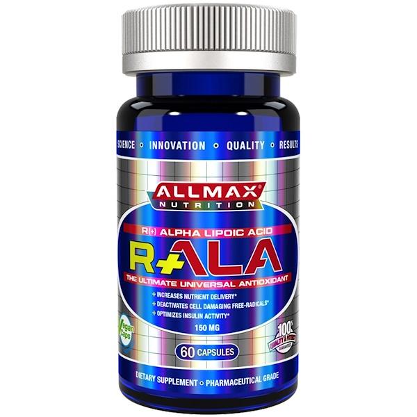 ALLMAX Nutrition, R+ Альфа-липоевая кислота (Максимальная сила R- Альфа-липоевая кислота), 150 мг, 60 вегетарианских капсул