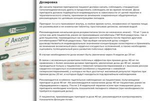 Дозировка препарата Акорта