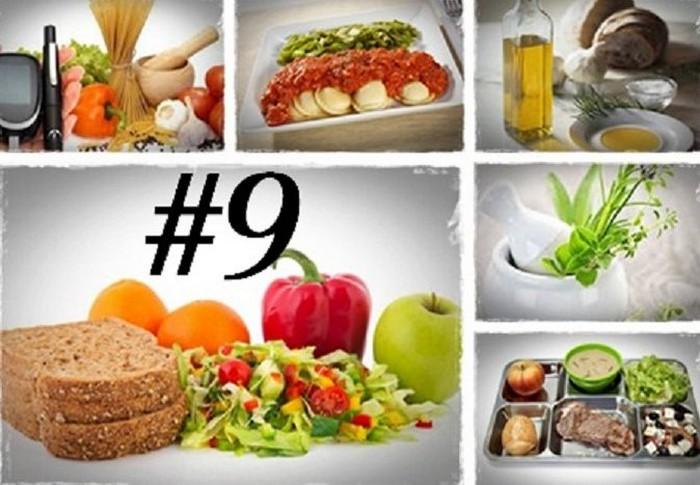 Химический состав диеты – стол №9