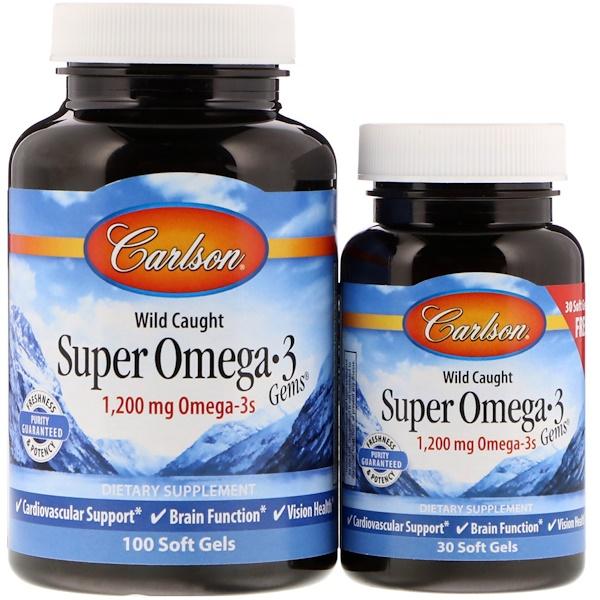 Carlson Labs, Выловлено в диких условиях, Супер жемчужины с Омега-3, 1 200 мг, 100 + 30 мягких таблеток