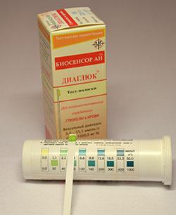 Визуальная индикаторная тест-полоска для определения глюкозы (сахара) в крови
